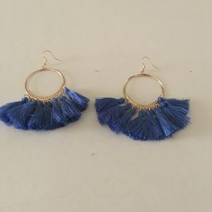 Blue Silk Fabric Tassel Earrings